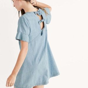 Madewell Chambray Short Sleeve Tie Back Dress